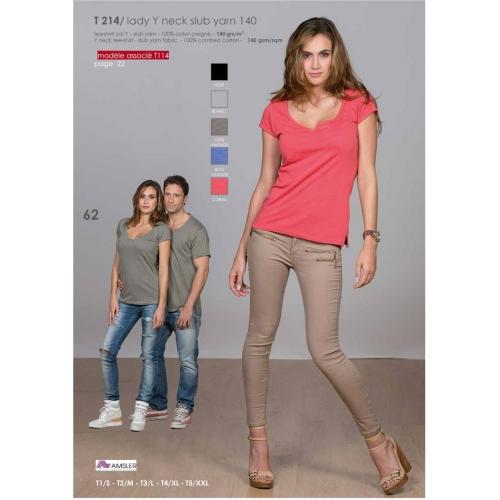 T-shirt col Y 100% cotton