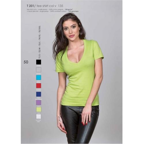 T-shirt col V 100% cotton